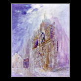 Gothic Church, Oil Mixed Media on Canvas Painting