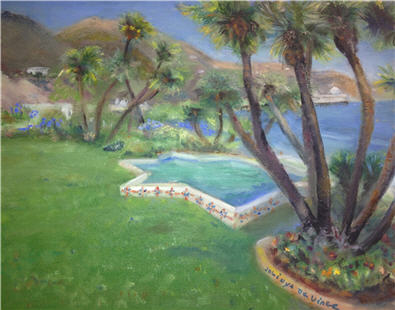 Adamson House, California, Oil Painting