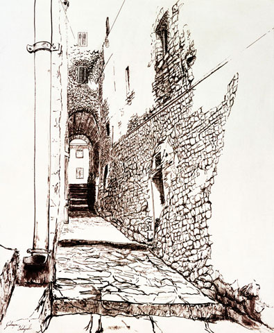 Alley at Giglio Castello, Pen & Ink Painting