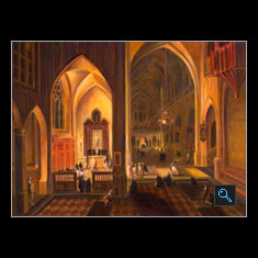 Gothic Cathedral at Night, Oil on Canvas Painting