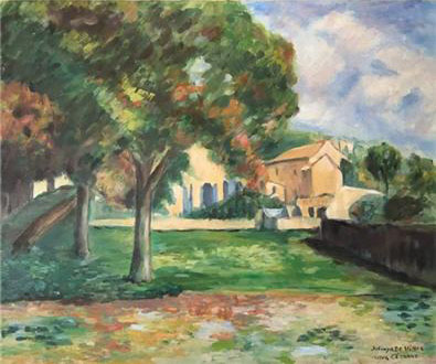 Chestnut Trees and Farm at Jas de Bouffan, Oil on Canvas Painting