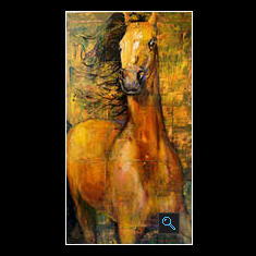 Gold Bay  Arabian Horse, Oil on Canvas Painting
