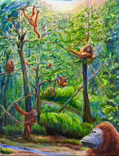 Monkeys in the Rainforest, Oil on Canvas Painting