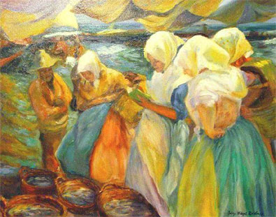 Mujeres Valencianas, Oil on Canvas Painting