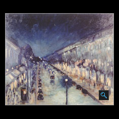 Paris Boulevard Monmarte at Night, Oil on Canvas Painting