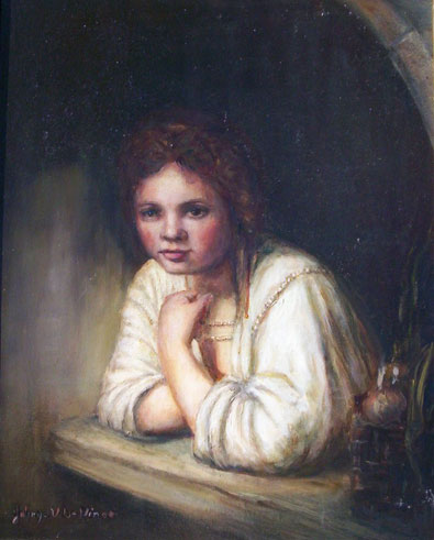 Girl in the Windowsill – Reproduction, Oil Painting