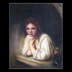 Girl in the Windowsill - Rembrandt Van Rijn – Reproduction, Oil Painting