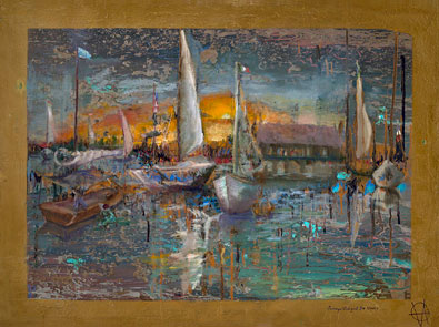 Sails at Sunset, Oil on Canvas Painting