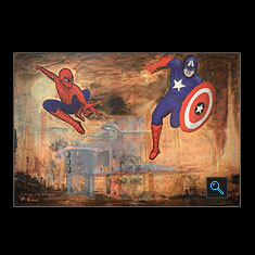 SPIDERMAN & CAP. AMERICA, Acrylic on Canvas Painting