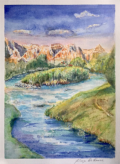 Wind River, Wyoming, Watercolor Painting