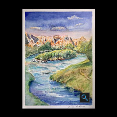 WIND RIVER, Watercolor Painting